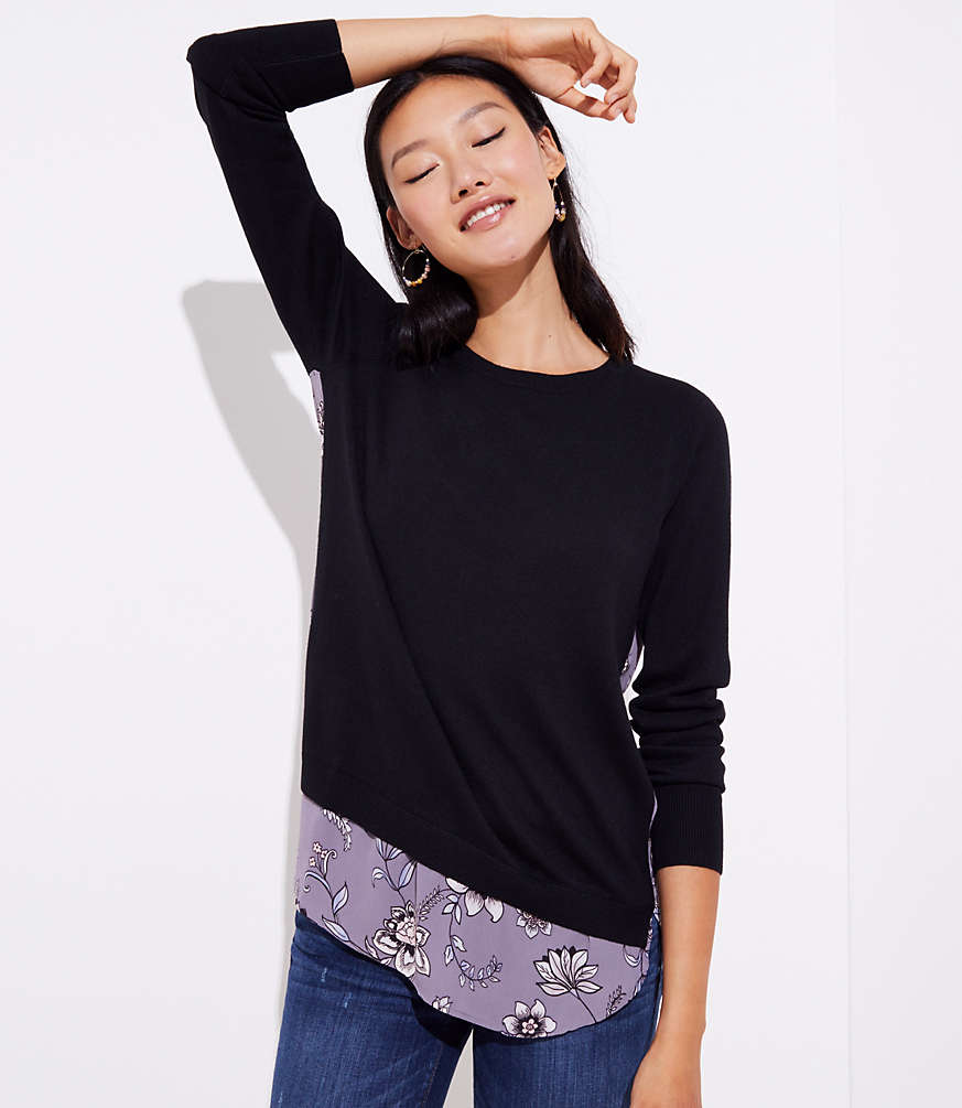 Petite Lilac Garden Mixed Media Sweater