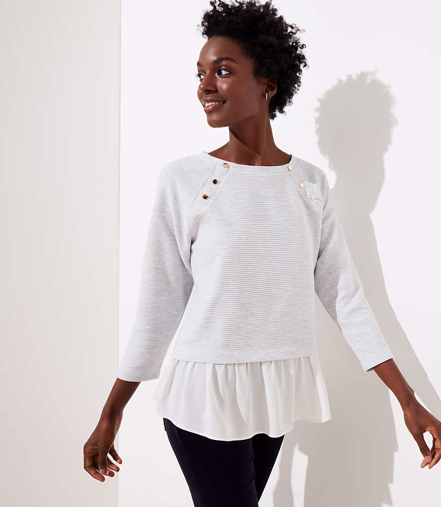 Petite Mixed Media Shoulder Button Sweatshirt