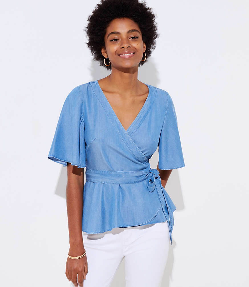 Chambray Wrap Top by Loft