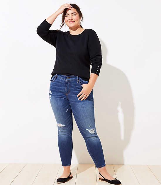 a810b3dd8c326 LOFT Plus Modern Destructed Slim Pocket Skinny Jeans in Mid Indigo Wash