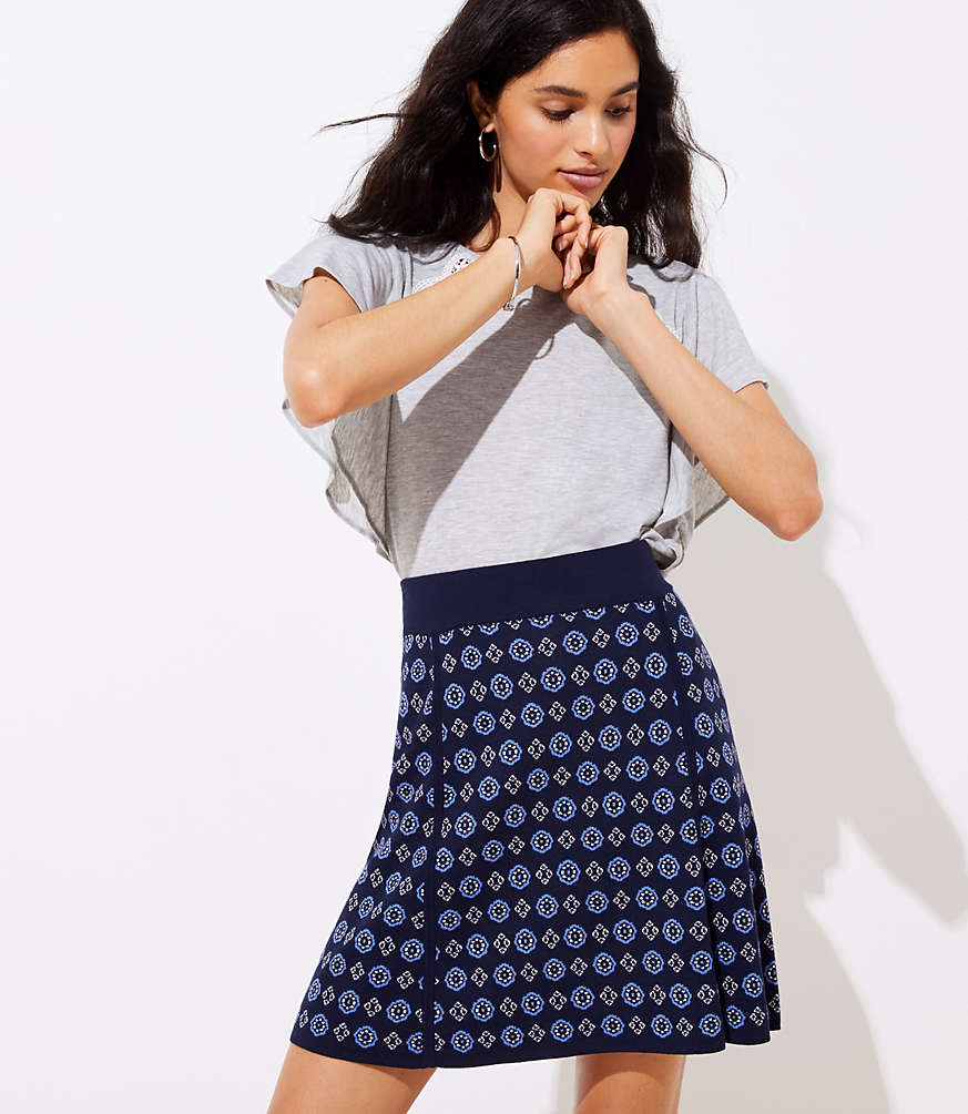 Petite Mosaic Sweater Flippy Skirt