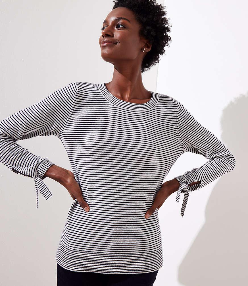 Petite Striped Tie Cuff Sweater