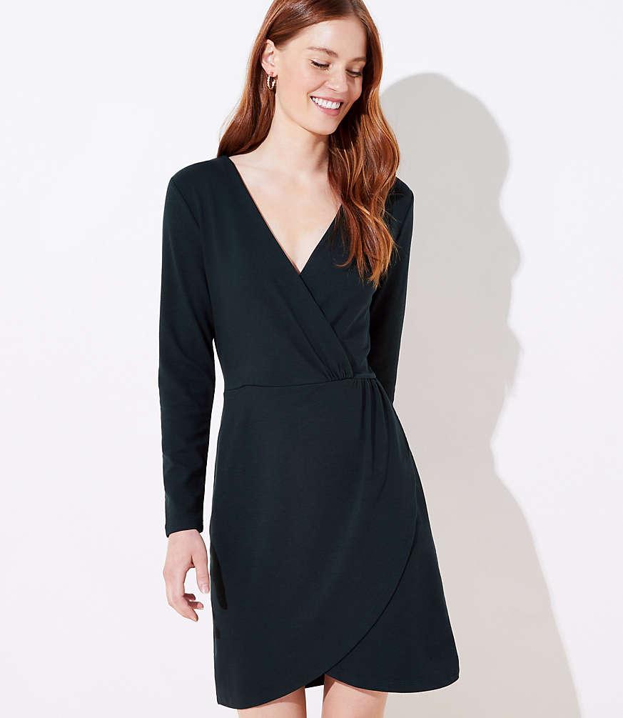 Petite Shirred Wrap Dress