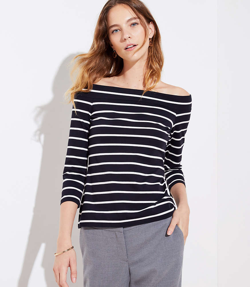Petite Striped Off The Shoulder Tee