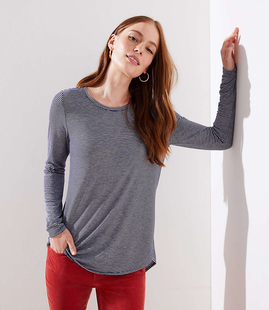Petite Striped Long Sleeve Shirttail Tee