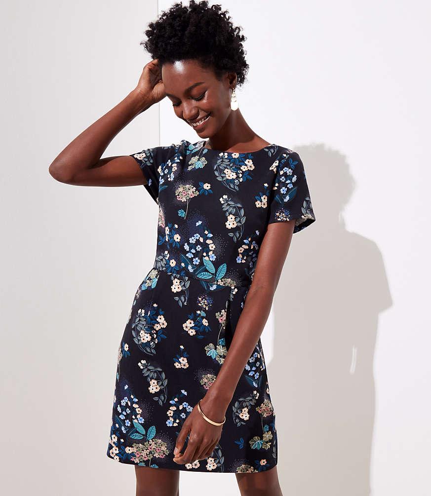 Petite Floral Scoop Back Pocket Dress