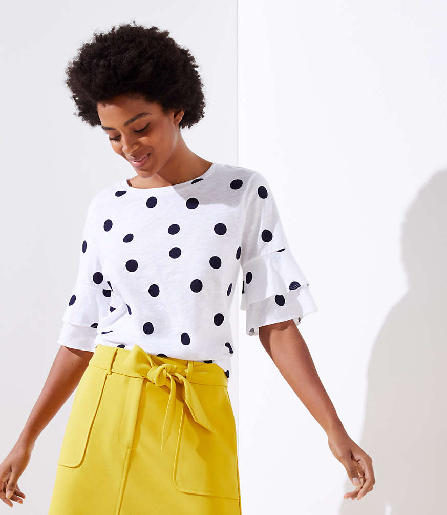 Petite Dotted Vintage Soft Bell Cuff Tee