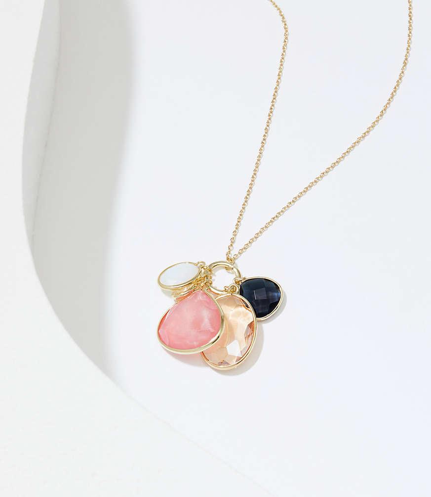 Stone cluster pendant necklace loft aloadofball Images