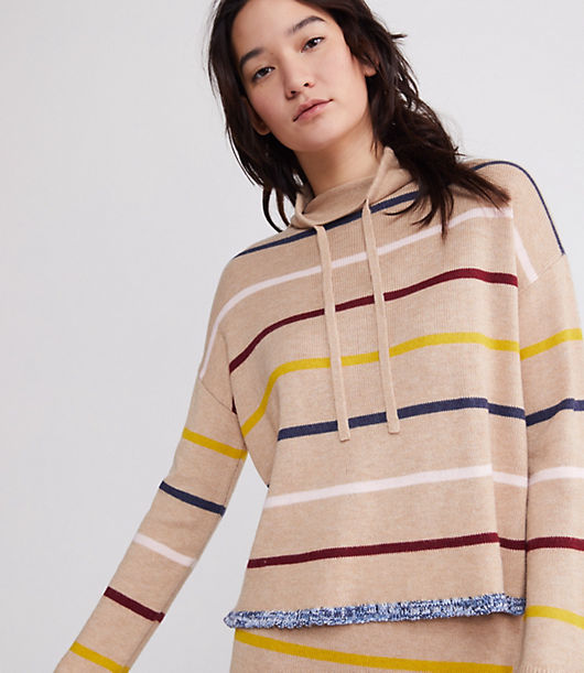 This soft sweater lines up your look with just-colorful-enough personality. Drawstring neck. Long sleeves.