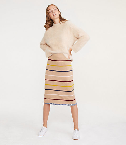 This soft pull on pencil skirt lines up your look with just-colorful-enough personality. Elasticized waist. 28 1/4inch long.