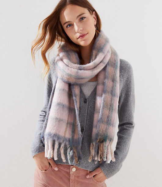 Smart plaid gets a modern look and dreamy feel in the form of this oversized brushed scarf - you'll want to wrap up in it every day. 11inch x 84.inch