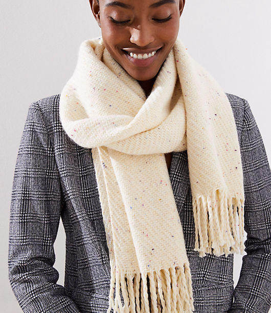 Understated with a hint of confetti-inspired stitching, this chunky scarf is a love-forever dose of warmth for layered looks. 17inch x 72.inch