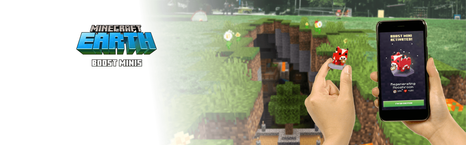 Minecraft background image with Minecraft boost minis promo banner
