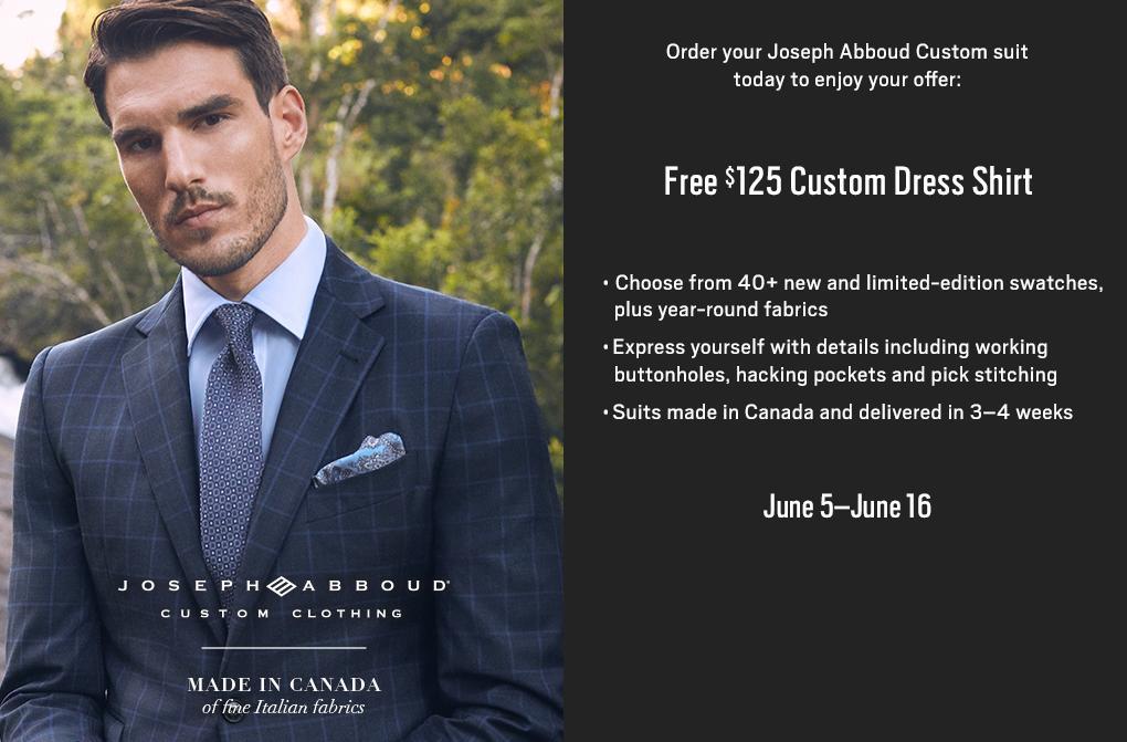 ea2c3822654 Joseph Abboud Custom Made in Canada of fine Italian fabrics. Order your  Joseph Abboud Custom