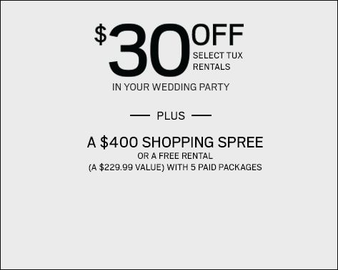 $30 off Every Tux Rental