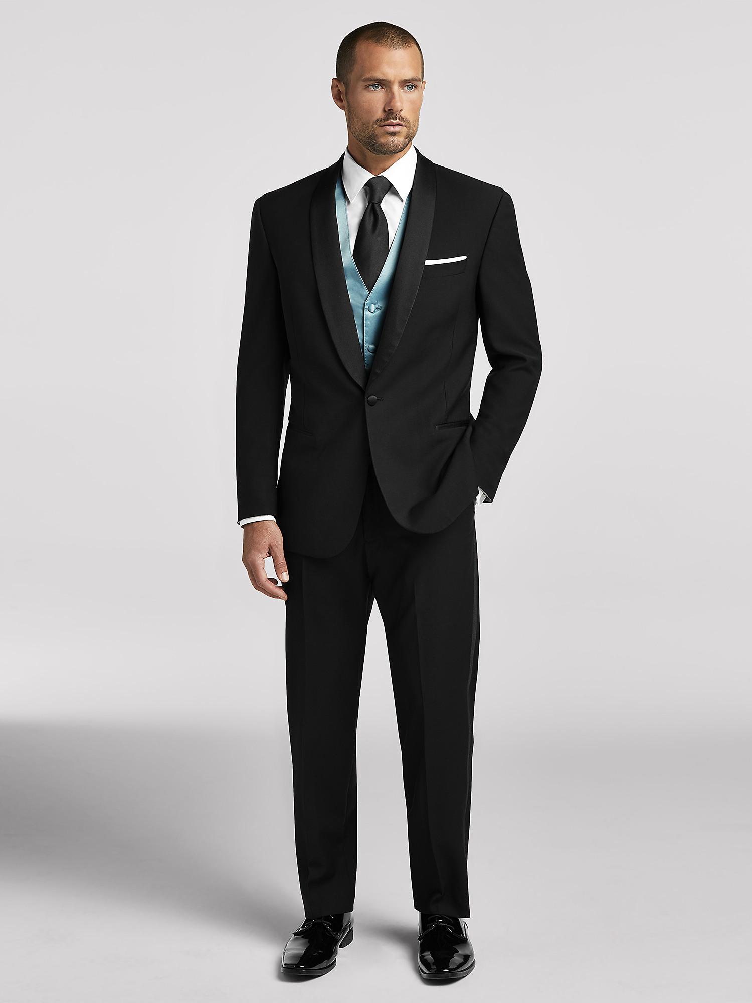 5a5787e4b8f4 Black Shawl Lapel Tuxedo by Calvin Klein | Tuxedo Rental | Moores ...