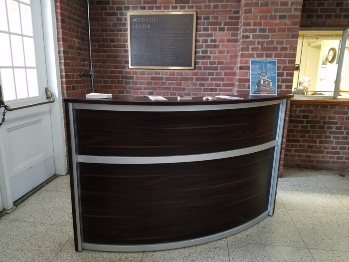 single surface reception desk