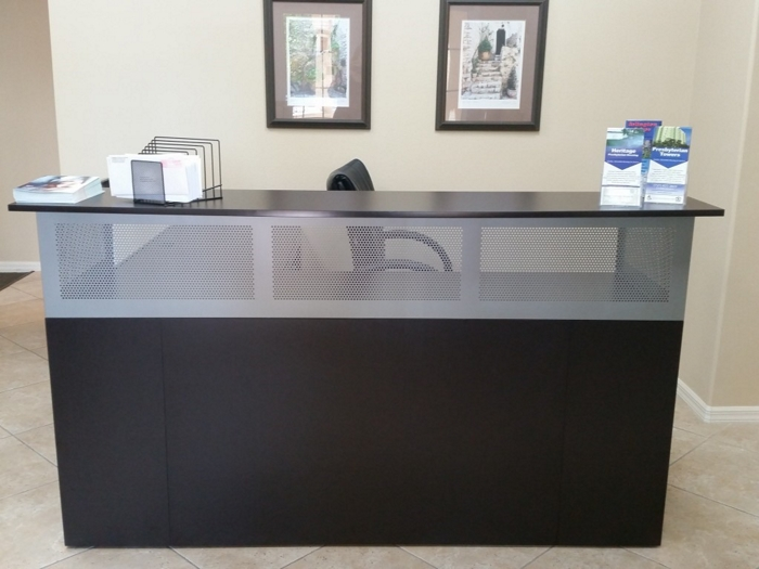 metal reception desk