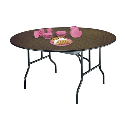 Midwest Folding Products Round Plywood Folding Table with Wishbone Legs 72\