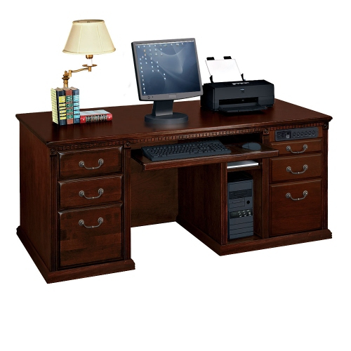 Aspenhome Warm Cherry Executive Modular Home Office: Stanley Furniture Lincoln Park Maple Executive Computer