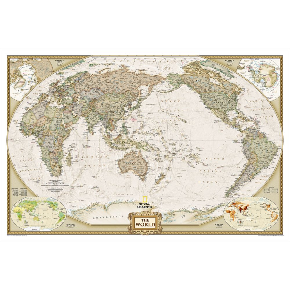 World Executive, Pacific Centered Wall Map, Enlarged and