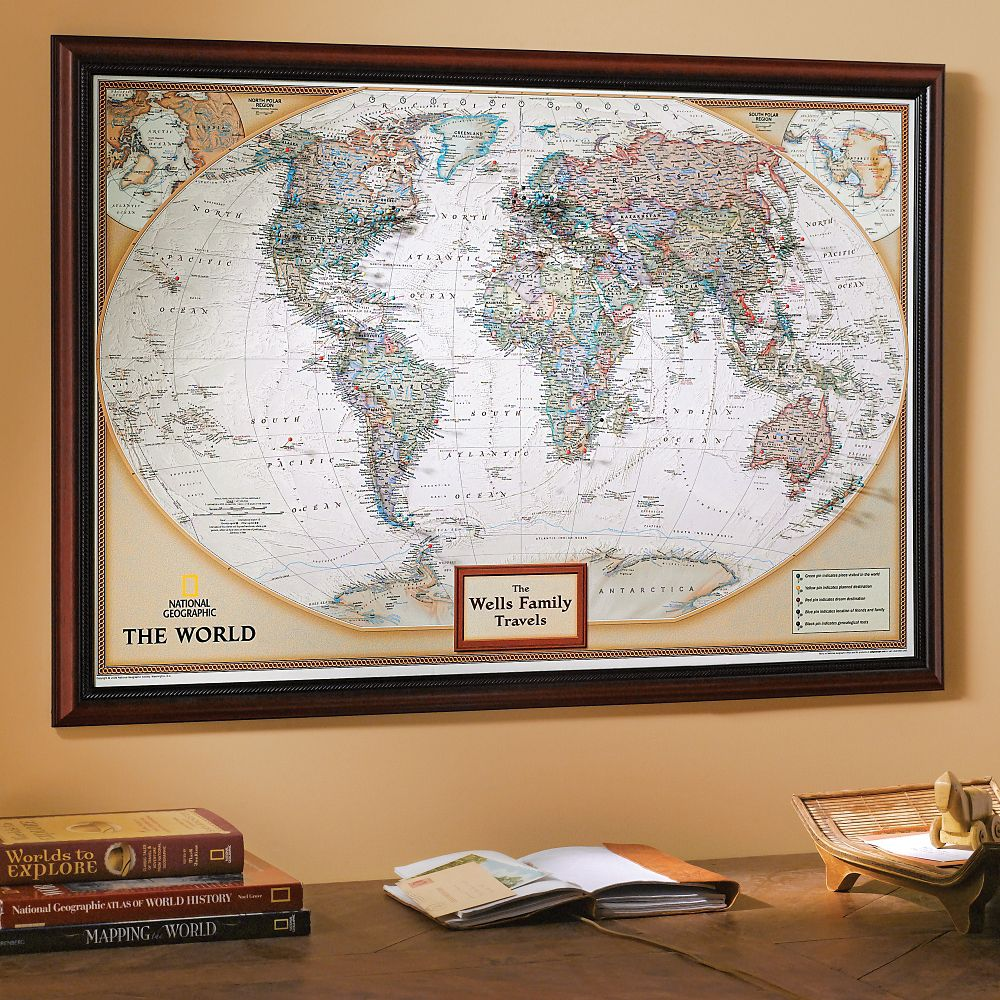 {My Town Custom Map Clock and Easel National Geographic Store – National Geographic Travel Map