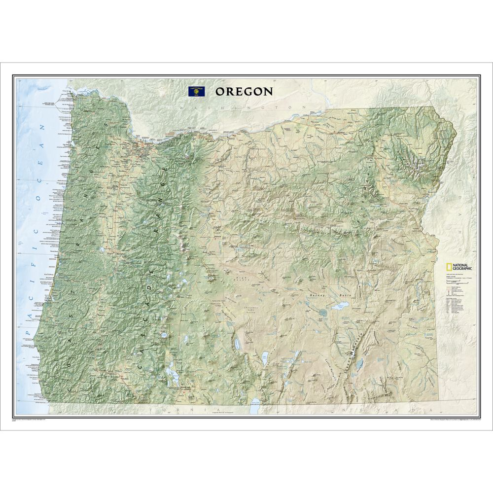 Oregon Wall Map, Laminated