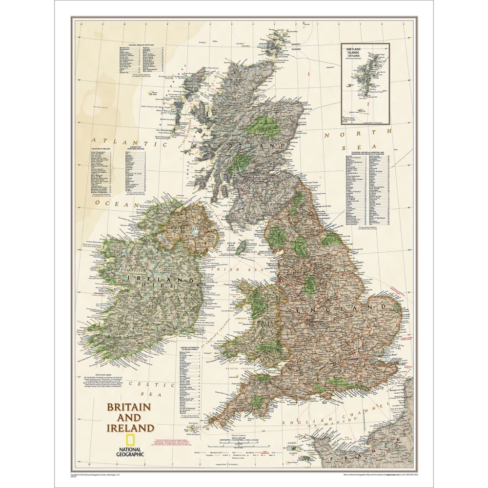 Britain and Ireland Political Map (Earth-toned)