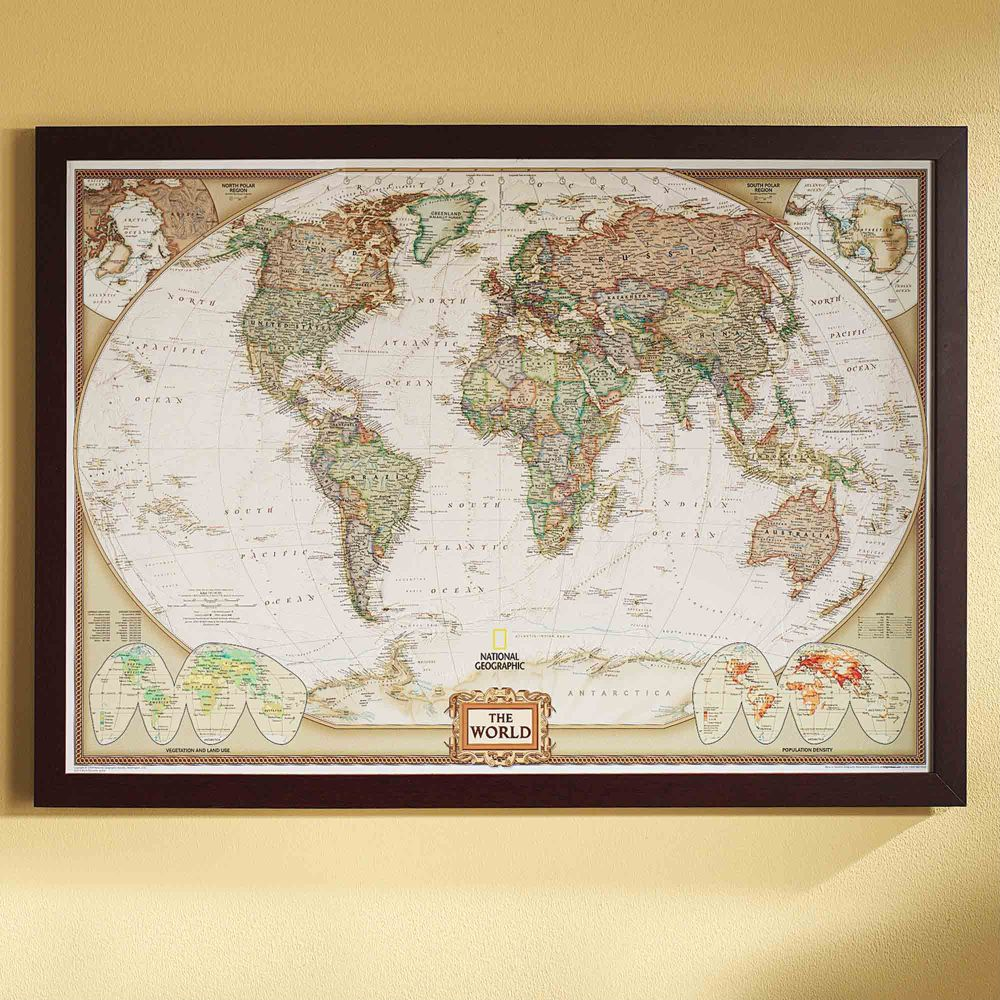 Framed Laminated Wall Maps National Geographic Store