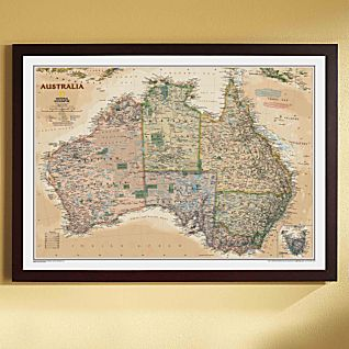 australia political map earth toned framed
