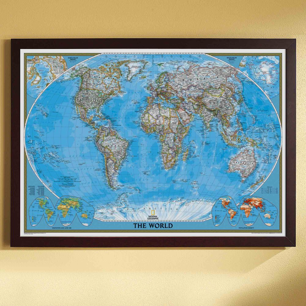 world political map classic poster size and framed. Black Bedroom Furniture Sets. Home Design Ideas