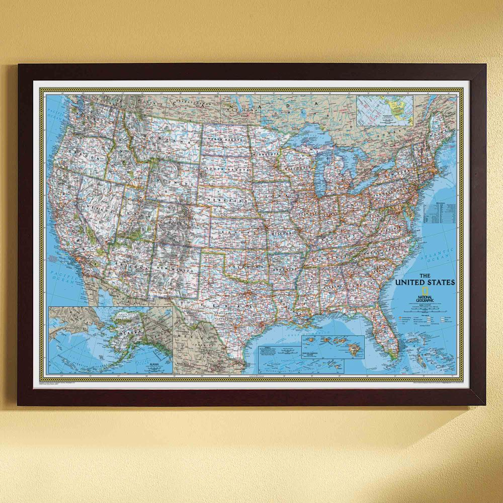 US Wall Maps Laminated US Map Posters National Geographic Store