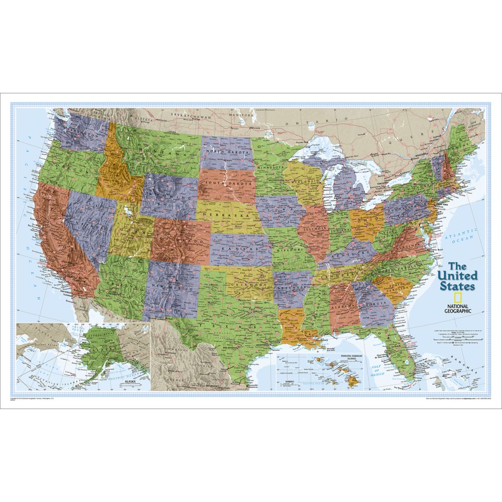 United States Classic Wall Map National Geographic Store - Give me the map of the united states