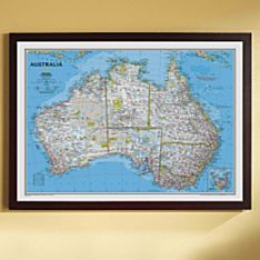 Australia Political Map (Classic), Framed