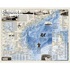 Shipwrecks of the Northeast Wall Map, Laminated