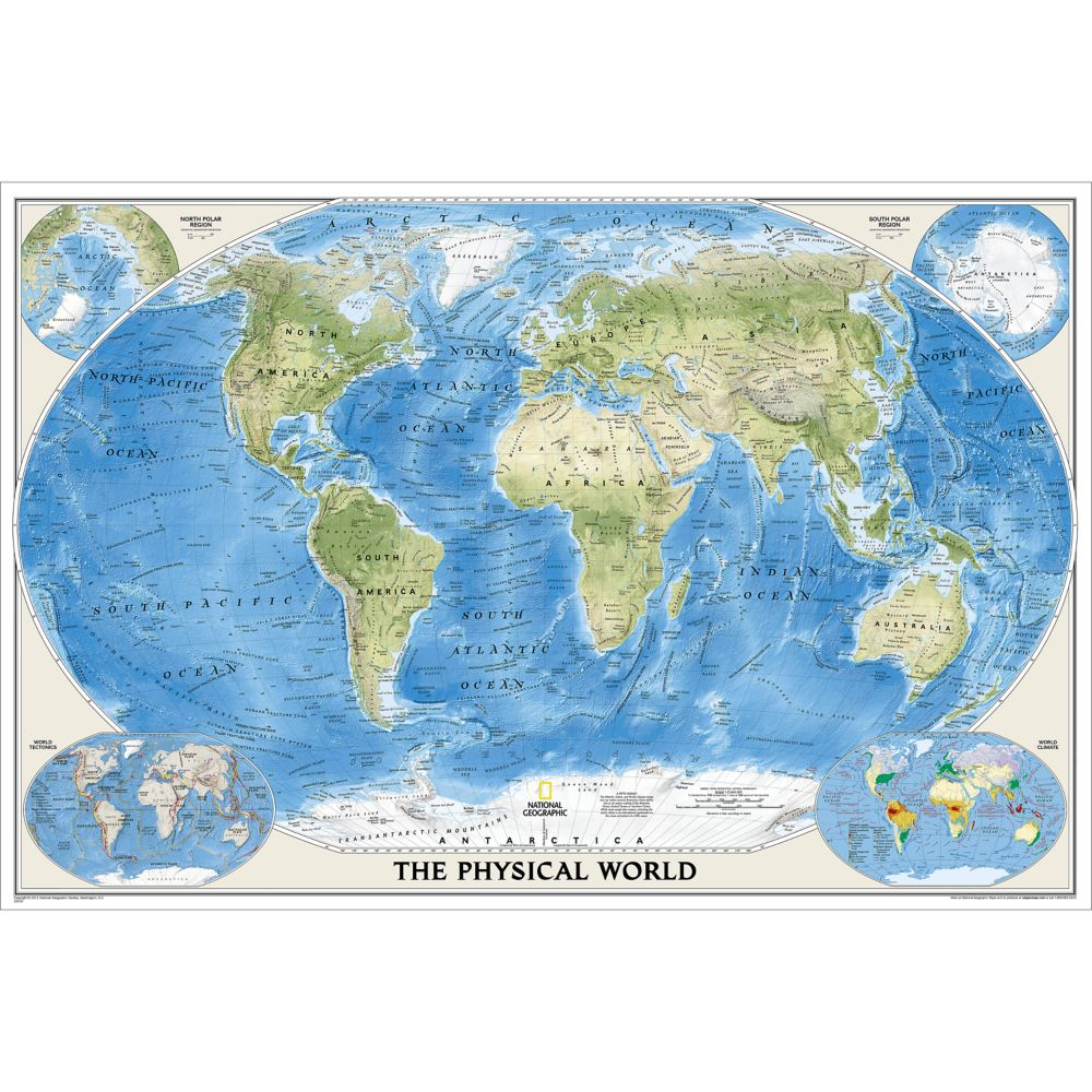 World Physical Wall Map Poster Size National Geographic Store