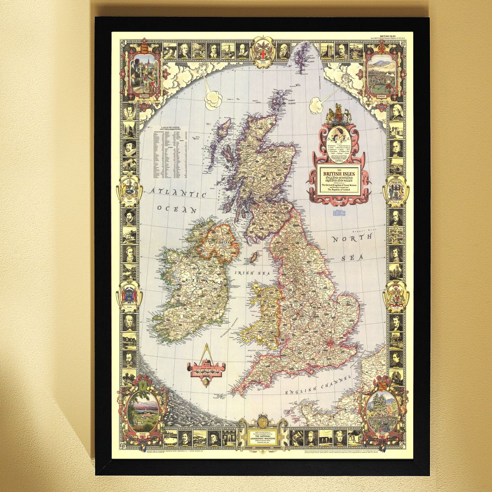World Political Map Earth toned Poster Size and Framed National Geograph