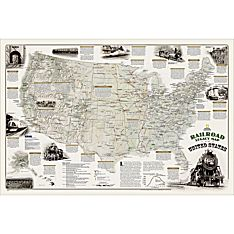 Railroad Legacy of the United States Wall Map, Laminated