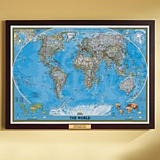 world political map classic poster size and framed with personalized plaque