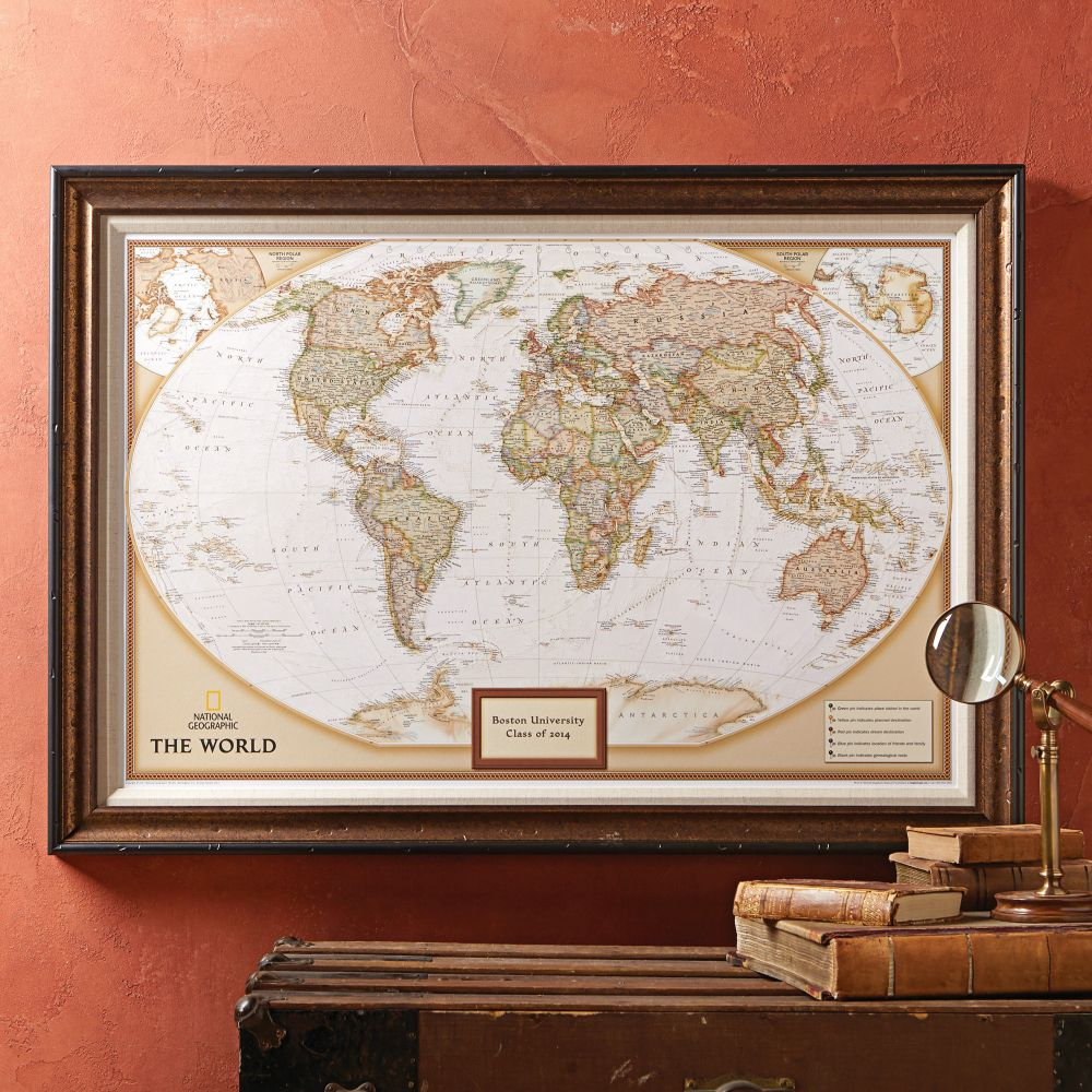 World Political Map Earthtoned Poster Size and Framed – National Geographic Travel Map