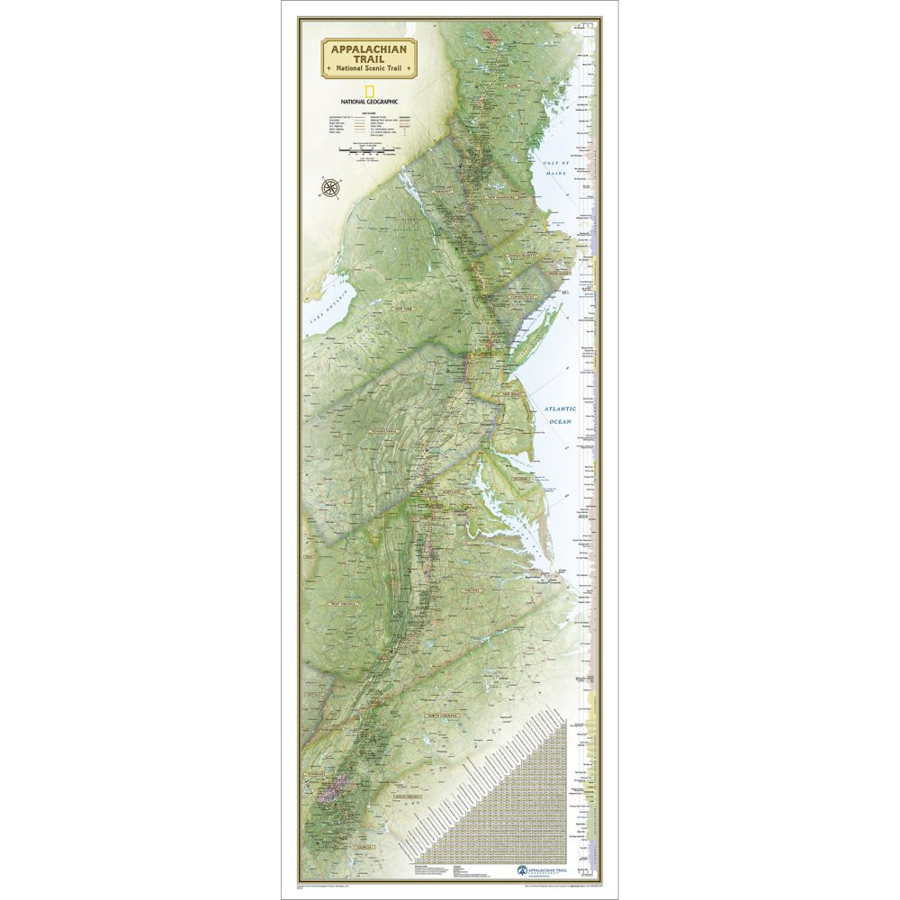 Appalachian Trail Wall Map, Laminated