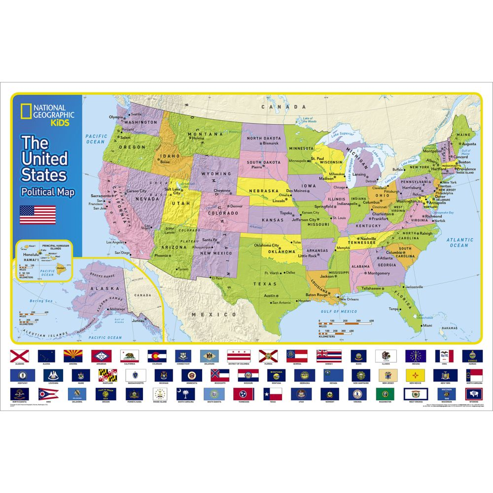The United States for Kids Wall Map, Laminated