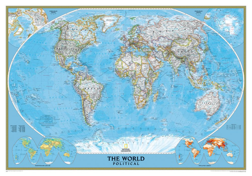World Classic Wall Map Poster Size National Geographic Store – Map World Real Proportions