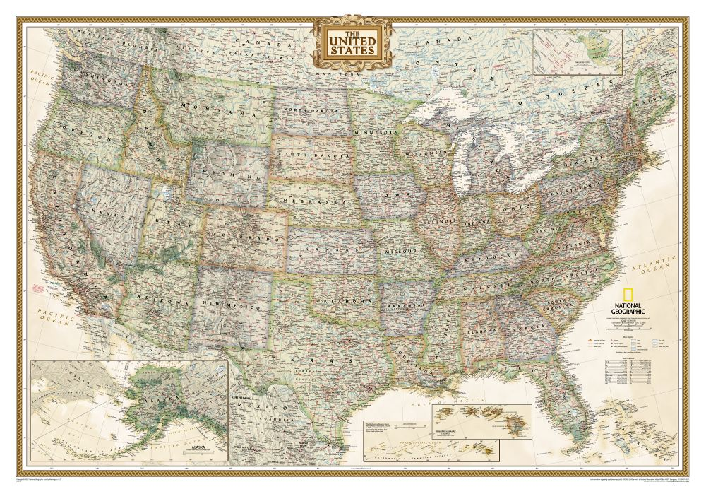 World Classic Pacific Centered Wall Map National Geographic Store - Framed us map