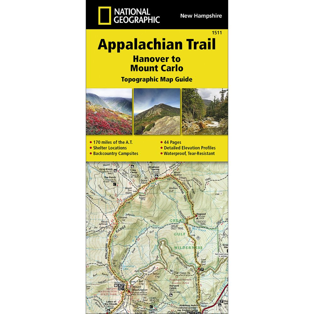 1511 Appalachian Trail, Hanover to Mount Carlo (New Hampshire) Trail Map