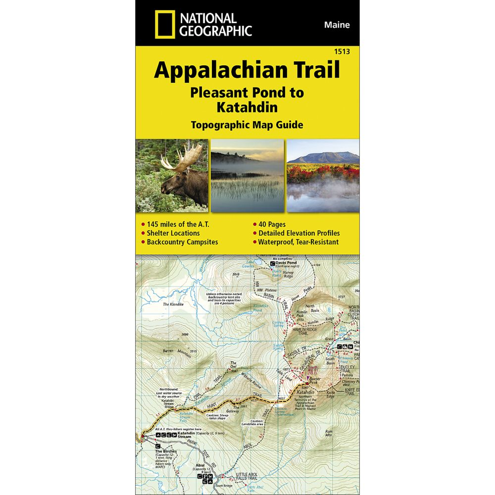 1513 Appalachian Trail, Pleasant Pond to Katahdin (Maine) Trail Map
