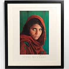 framed signed national geographic afghan girl poster