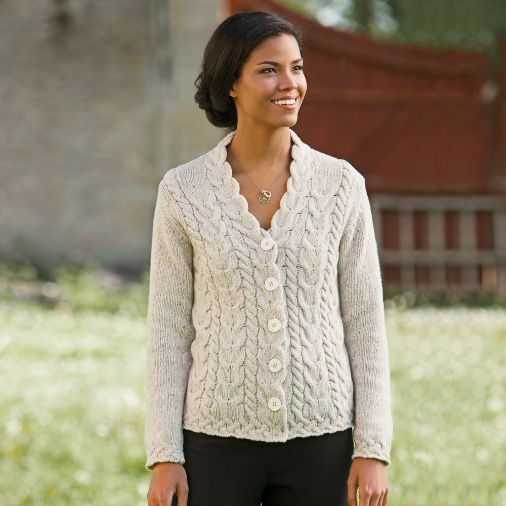 Aran Wool Sweater Womens - Cardigan With Buttons