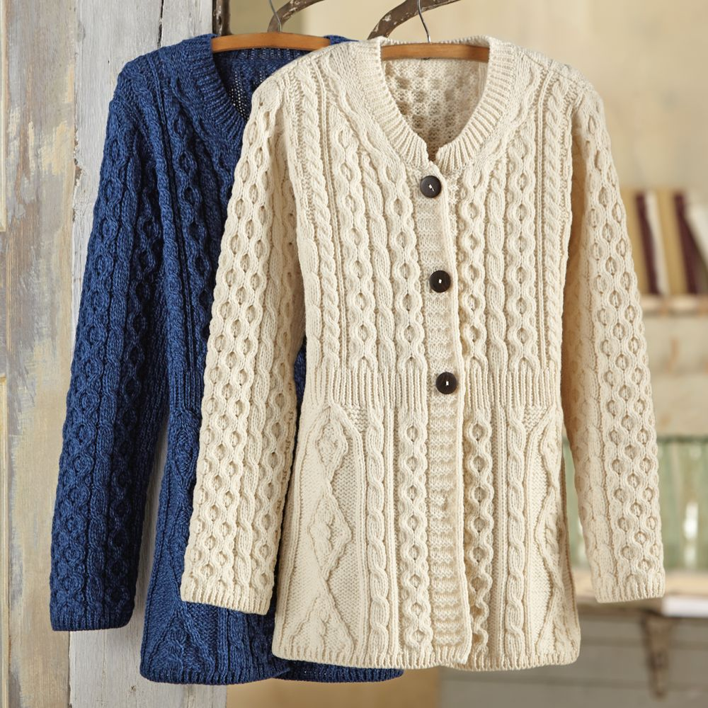 Free Cable Knit Afghan Pattern : Womens Irish Aran Sweater Jacket - National Geographic Store