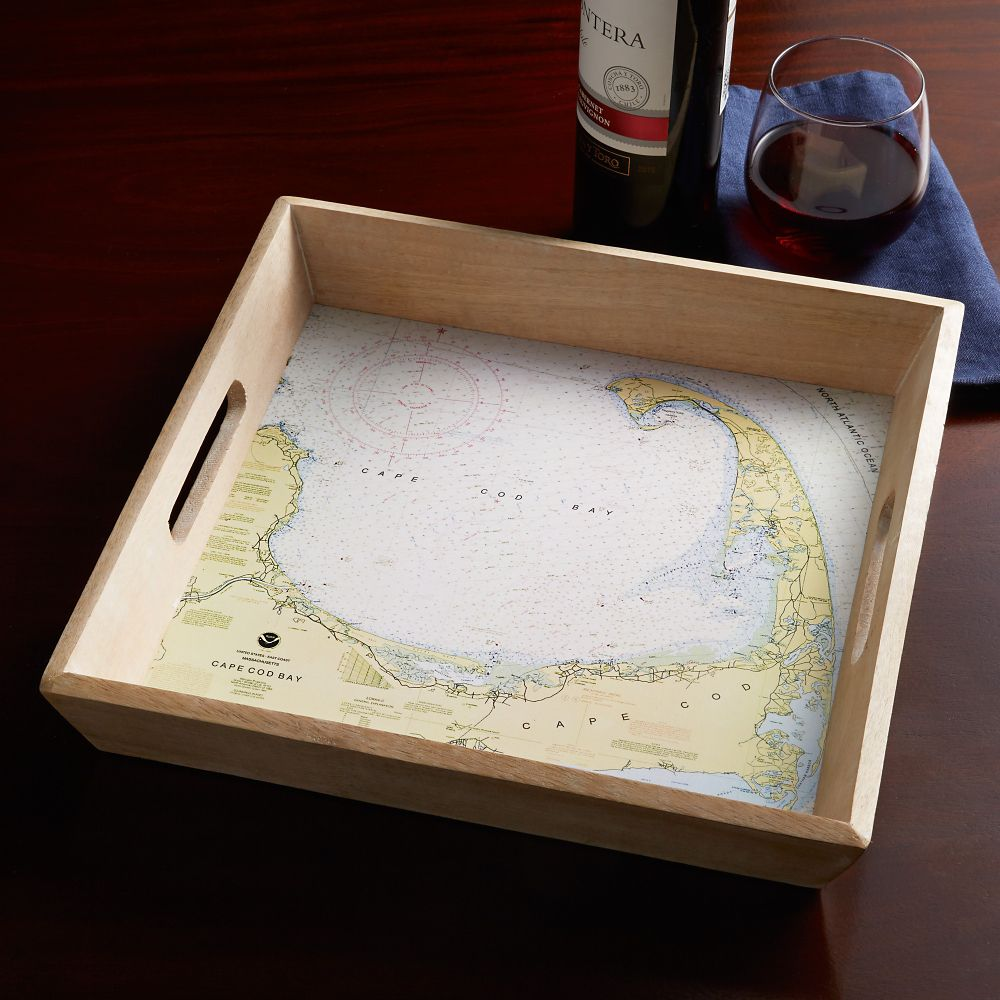 Custom Nautical Chart Serving Tray